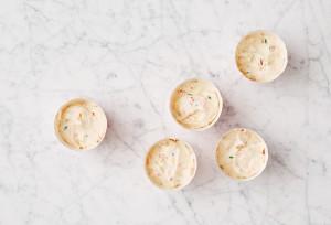 Rainbow sprinkles in cupcake batter