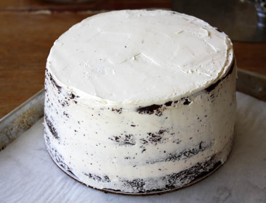 A perfect crumb coat. Photo Credit: Zoe Bakes