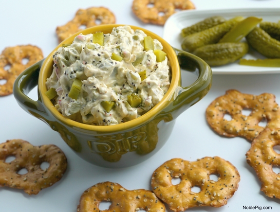 Dill Pickle Dip - it tastes amazing with pretzels. Photo Credit: NoblePig.com